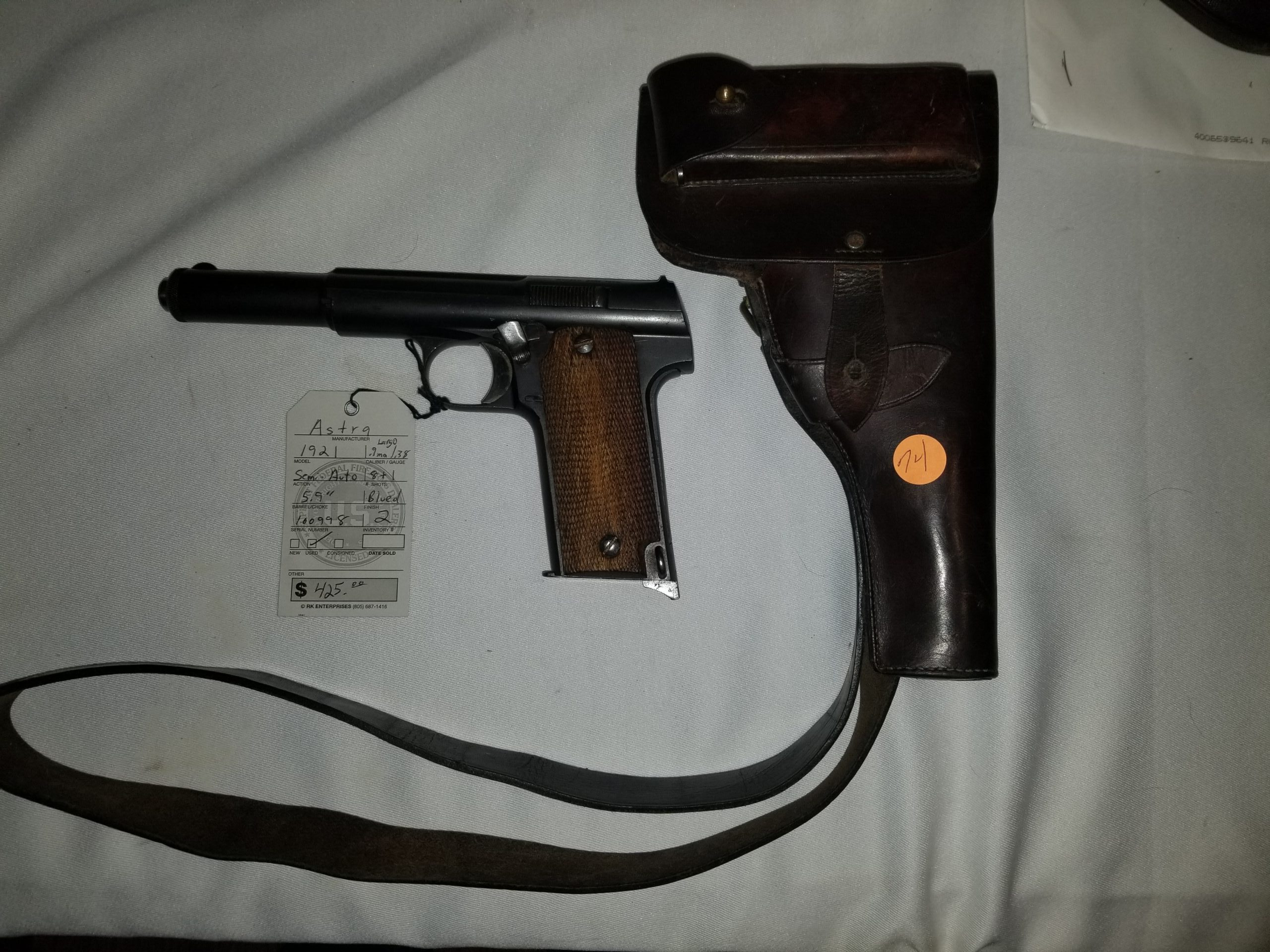 Astra Model 1921 Semi-Auto Pistol in .9mm Largo & .38